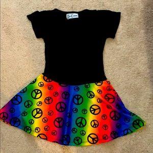 Dori Peace Sign Fit and Flare Dress. EUC 5